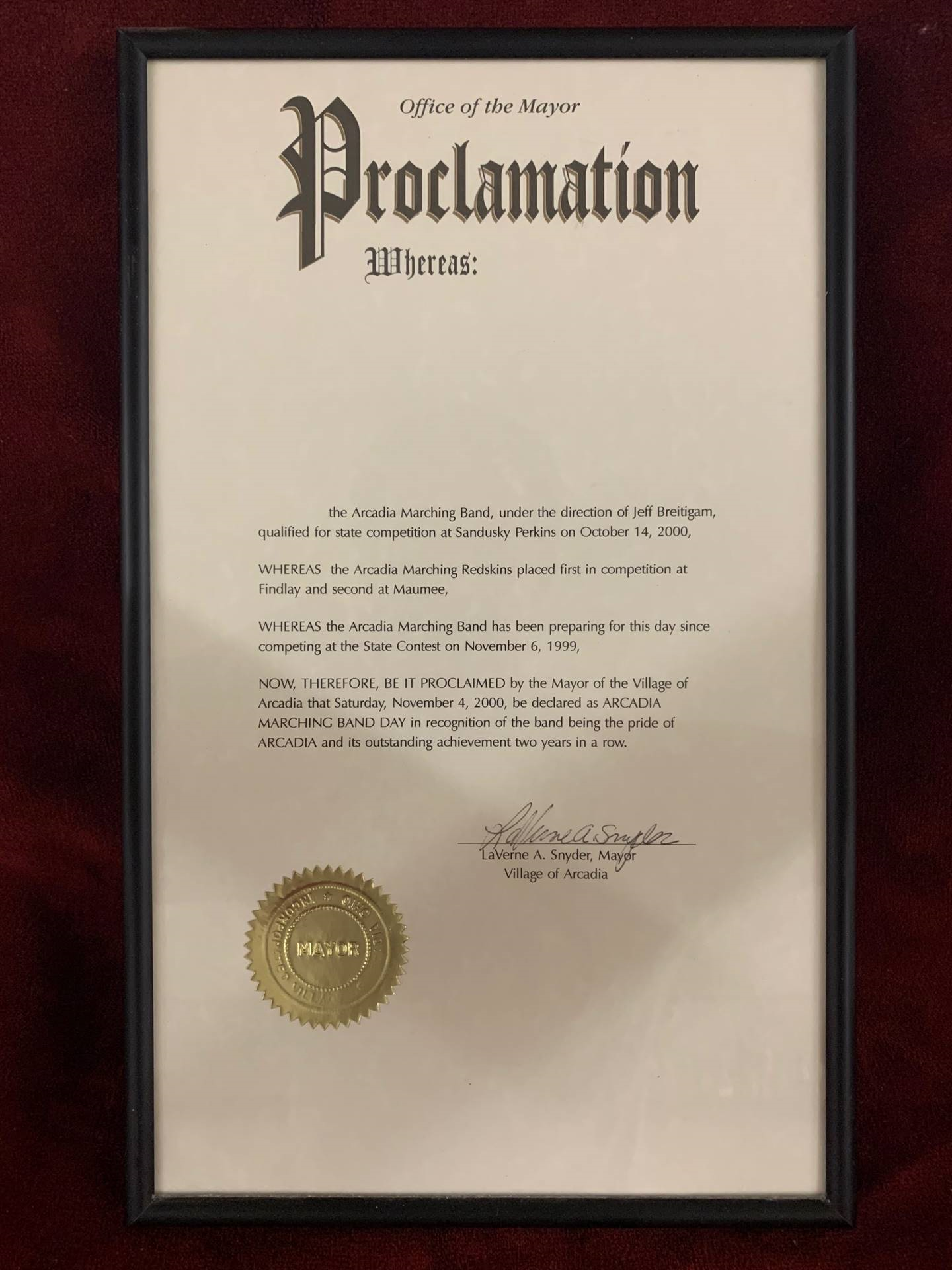 2000 Office of the Mayor Proclamation