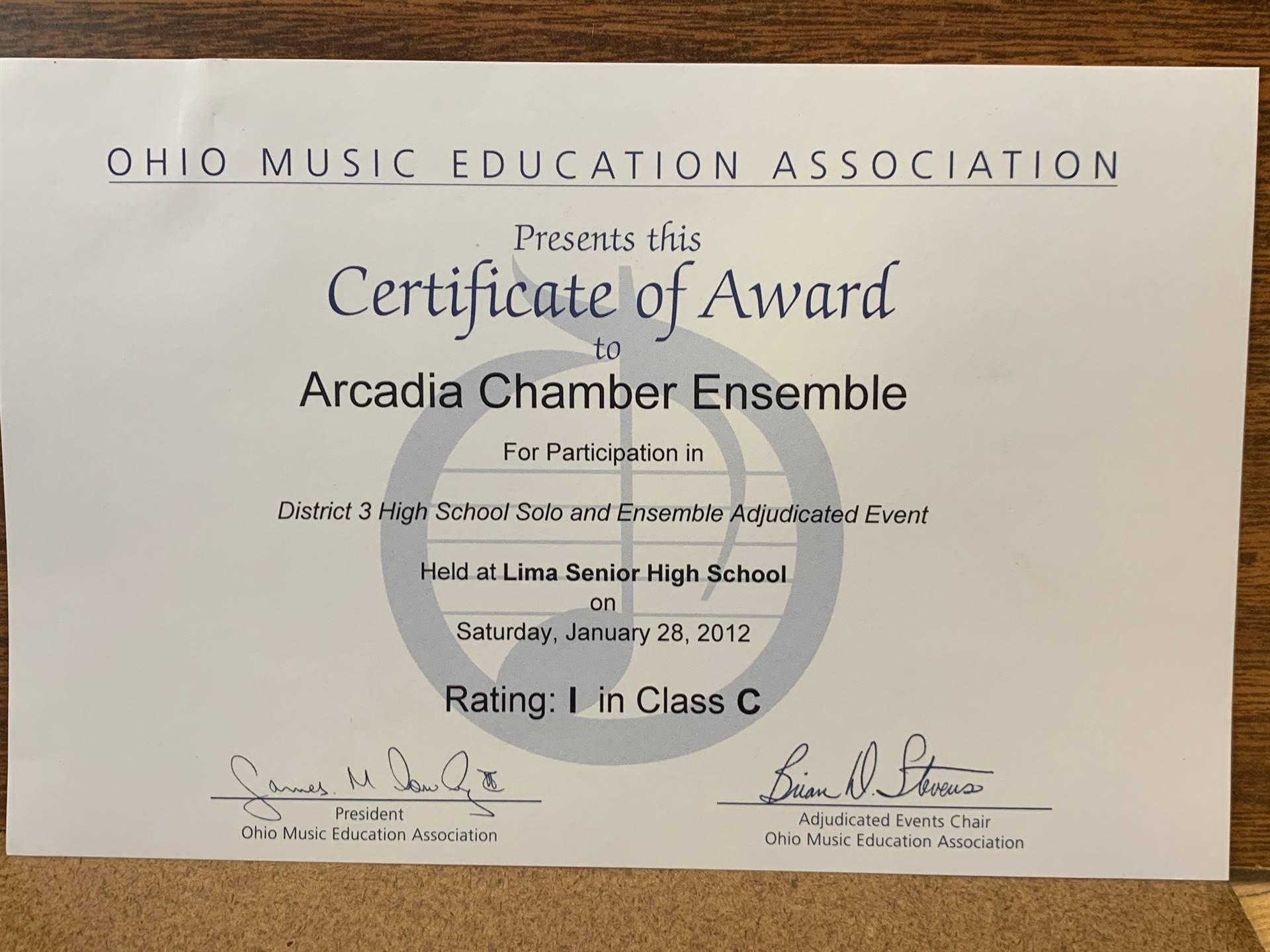 OMEA Certificate