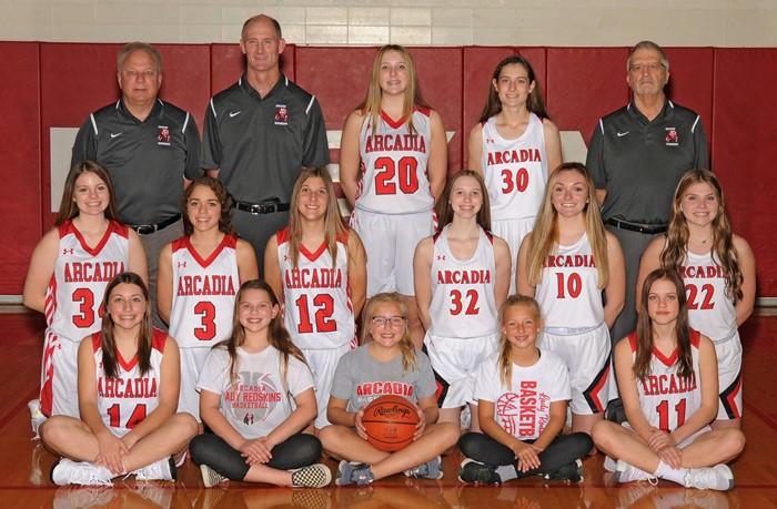 2020-21 Arcadia Lady Redskins JV Basketball Team Photo