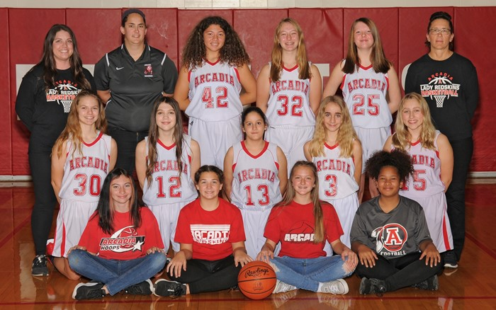2020-21 Arcadia Lady Redskins Middle School Basketball Team Photo