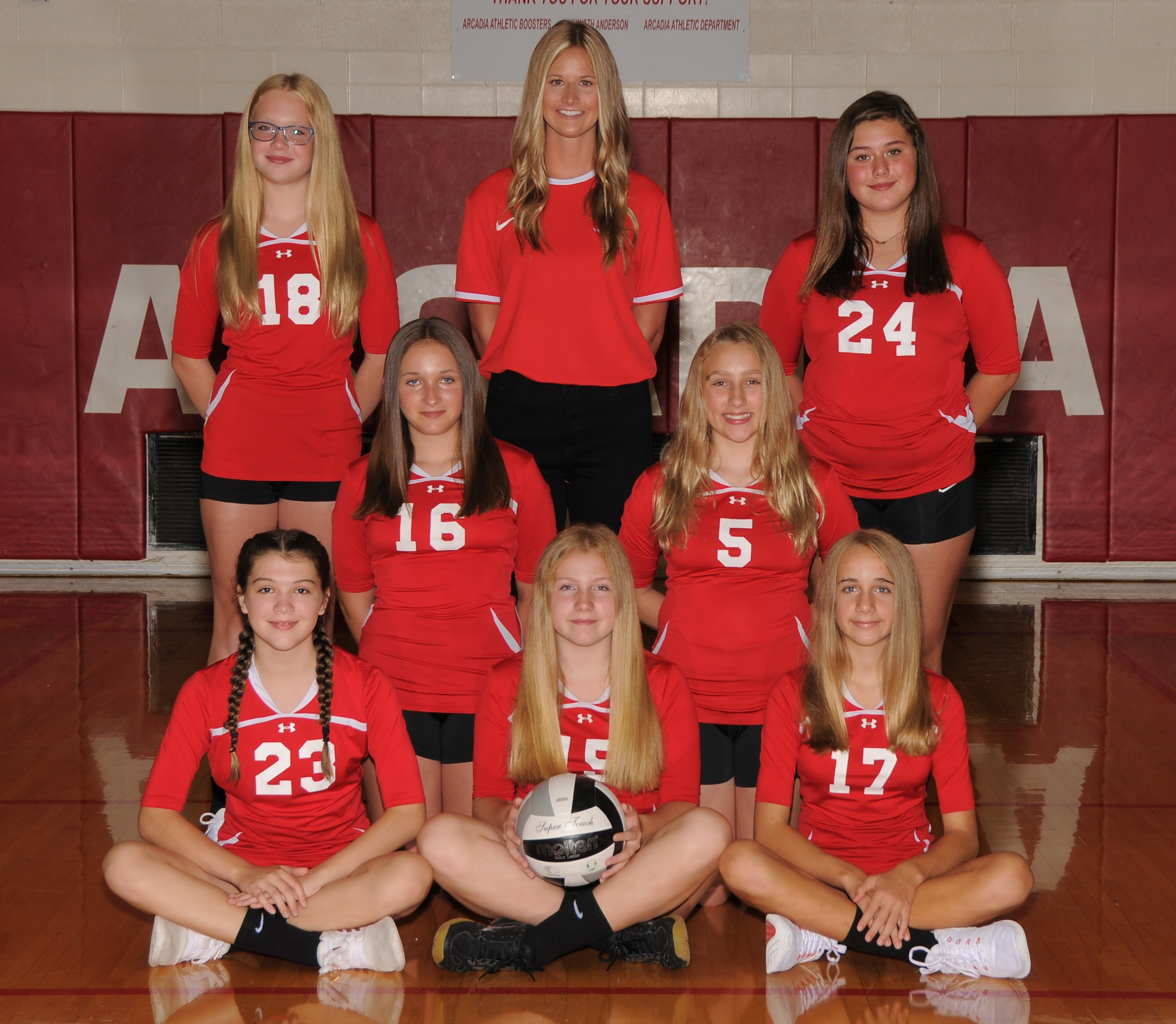 Arcadia Redskins 2020 7th Grade Volleyball Team Photo