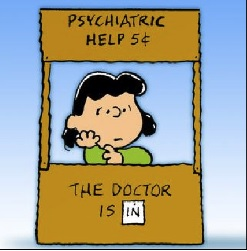 The Doctor is in wiith Lucy. A Charlie Brown cartoon